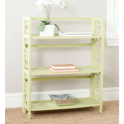 42.5 in. Split Pea Wood 3-shelf Etagere Bookcase