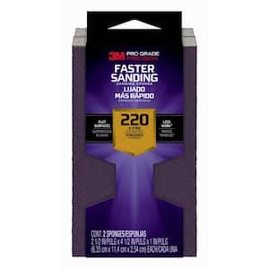 Pro Grade Precision 2.5 in. x 4.5 in. x 1 in. 220 Grit Extra Fine Faster Sanding Sanding Block Sponge (2-Pack)
