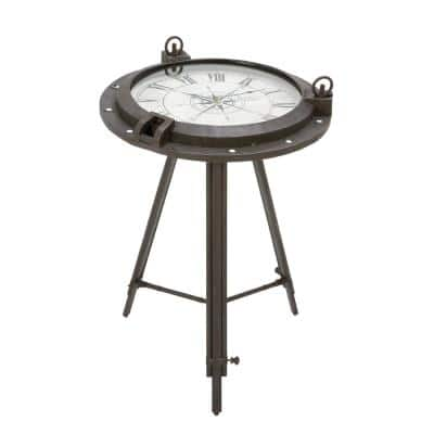24 in. x 19 in. Iron Compass and Porthole Clock Table