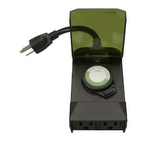 15-Amp 24-Hour Outdoor Plug-In Lighting Dual-Outlet Mechanical Timer, Black