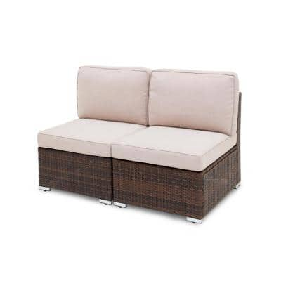 Brantford 2-Piece Brown Wicker Steel Frame Outdoor Armless Sectional Chair with Beige Cushions