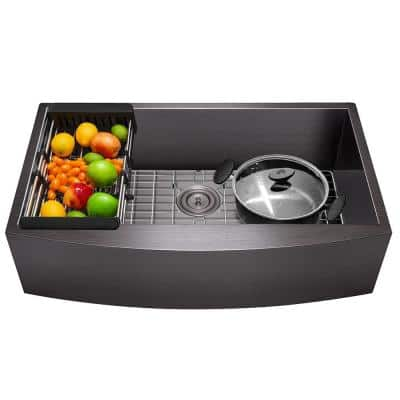 Matte Black Finished Stainless Steel 33 in. x 22 in. Single Bowl Farmhouse Apron Mount Kitchen Sink with Accessories