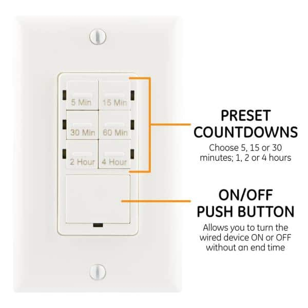 In Wall Digital Countdown Timer 15318, Bathroom Fan Timer Switch Home Depot