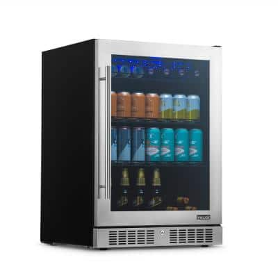 Built-in Premium 24 in. 224 Can Beverage Cooler Color Changing LED Lights, Seamless Stainless Steel Door
