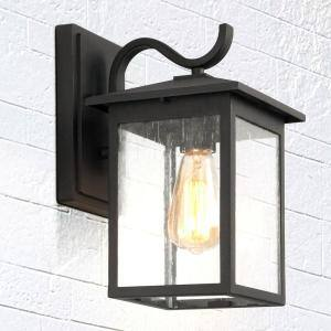 1-Light Black Square Outdoor Wall Lantern Sconce with Seeded Glass