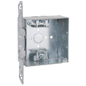 2-Gang Electrical Square Box with AC/MC/Flex Clamps and Bracket