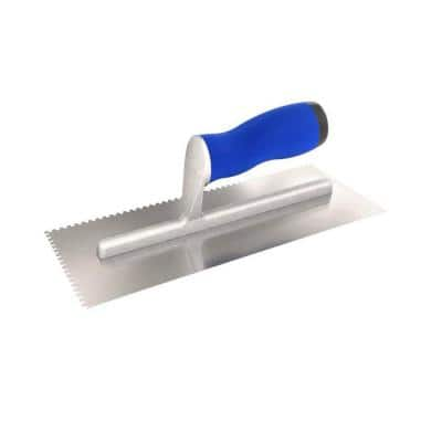 11 in. x 4-1/2 in. Square-Notched Margin Trowel with Notch Size 1/16 in. x 1/16 in. x 1/16 in. with Wood Handle