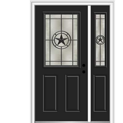 Elegant Star 48 in. x 80 in. Left-Hand Inswing 1/2 Lite Decorative Glass Black Painted Fiberglass Prehung Front Door