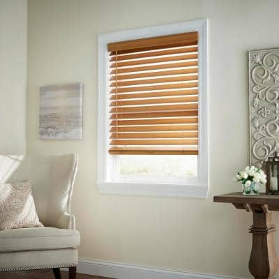 Chestnut Cordless Room Darkening 2.5 in. Premium Faux Wood Blind for Window - 34 in. W x 72 in. L