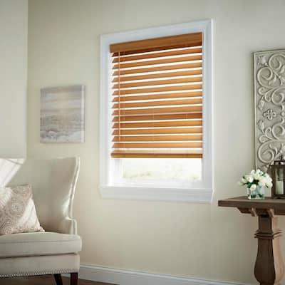 Chestnut Cordless Room Darkening 2.5 in. Premium Faux Wood Blind for Window - 53 in. W x 48 in. L