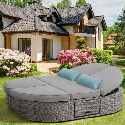 Sandra Gray Wicker Reclining Daybed with Gray Cushions