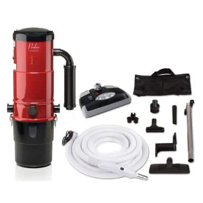 CV12000 Red Central Vacuum Power Unit with Electric Hose and Black Power Nozzle Kit
