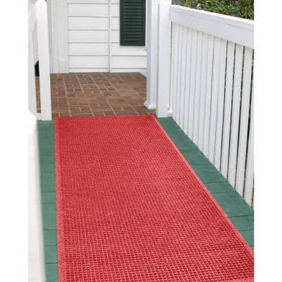 Squares 35 in. x 85 in. PET Polyester Doormat Solid Red