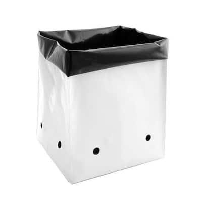 10 Gal. Black and White PE Plastic Grow Bag Set (25-Pack)