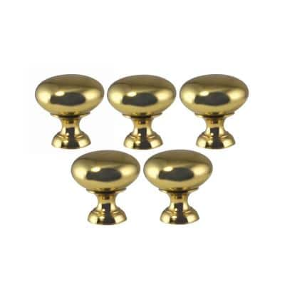 1-1/4 in. Polished Brass Cabinet Knob (5-Pack)