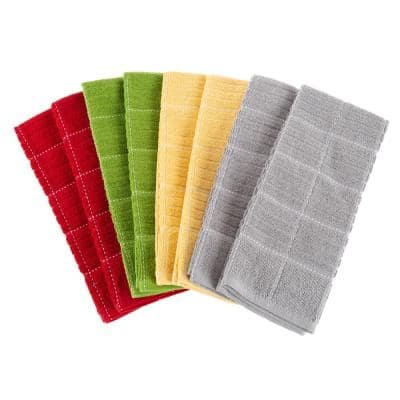100% Cotton Woven Checked Pattern Hand Towels 8-Pack