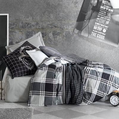 Black Imaginations Cotton Duvet Cover Set Anthracite, Full Size, 1-Duvet Cover, 1-Fitted Sheet and 2-Pillowcases