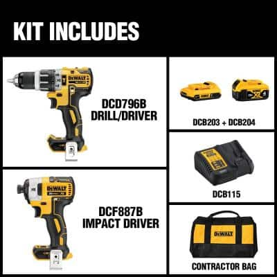 20-Volt MAX XR Cordless Brushless Hammer Drill/Impact Combo Kit (2-Tool) with (1) 4.0Ah Battery & (1) 2.0Ah Battery