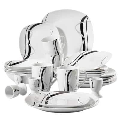 Fiona 20-Piece Casual Ivory White with Black Stripes Porcelain Dinnerware Set (Service for 4)