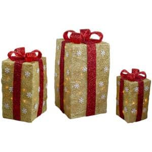 18 in. Christmas Outdoor Decorations Lighted Tall Gold Sisal Gift Boxes (3-Pack)