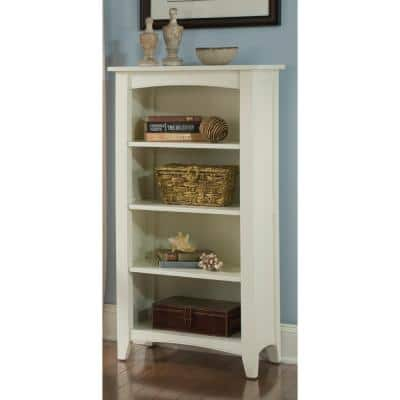 48 in. Ivory Wood 4-shelf Standard Bookcase with Storage