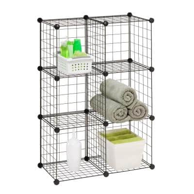 44.49 in. H x 13.24 in. W x 14.57 in. D Black Steel 6-Cube Storage Organizer