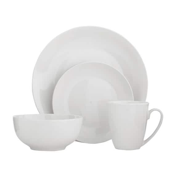 StyleWell - 16-Piece White Ceramic Coupe Dinnerware Set (Service for 4)