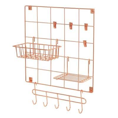 14.96 in. D x 14.96 in. W x 0.83 in. H Rosy Copper Wire Wall Grid with Storage Accessories (8-Piece Set)