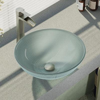 Glass Vessel Sink in Sparkling Silver with R9-7007 Faucet and Pop-Up Drain in Brushed Nickel