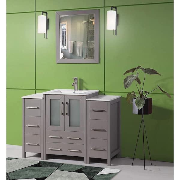 Vanity Art Brescia 48 In W X 18 In D X 36 In H Bathroom Vanity In Grey With Basin Vanity Top In White Ceramic And Mirror Va3024 48g The Home Depot