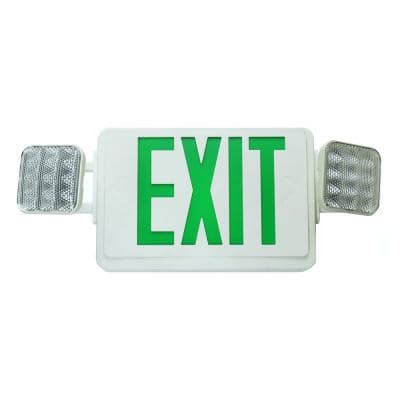 ECL1 25-Watt White Integrated LED Exit Sign with Green Lettering