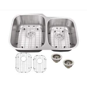 Undermount 31-1/2 in. 16-Gauge Stainless Steel Kitchen Sink in Brushed Stainless