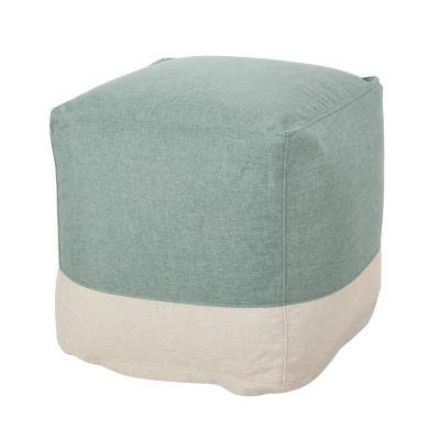 Pulaski Teal and Beige 2-Toned Cube Pouf
