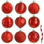 80 mm Red Christmas Ornament Assortment (75-Pack)