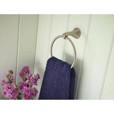 Darcy Towel Ring with Press and Mark in Brushed Nickel