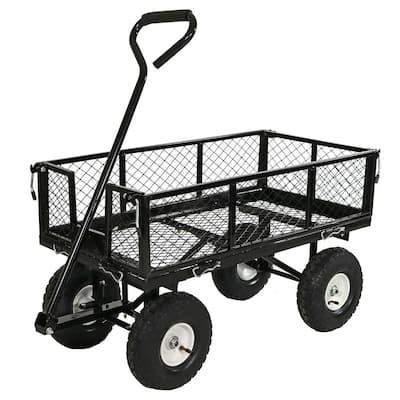 Black Heavy-Duty Steel Collapsible Log Cart