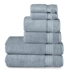 6-Piece Dusty Blue Bamboo Towel Set