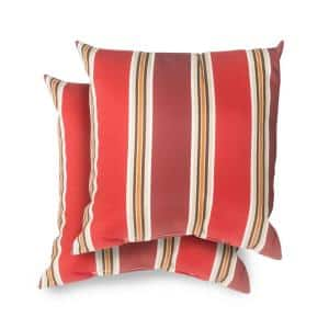 Hampton Bay Antilles Stripe Sail Blue Square Outdoor Throw Pillow 2 Pack 7680 02613400 The Home Depot