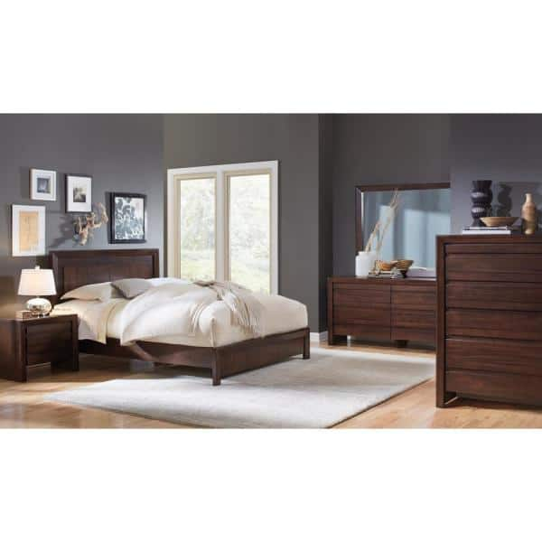 Element 2 Drawer With Charging Station Chocolate Brown Nightstand 22 In H X 26 In W X 16 In D 4g2281p The Home Depot