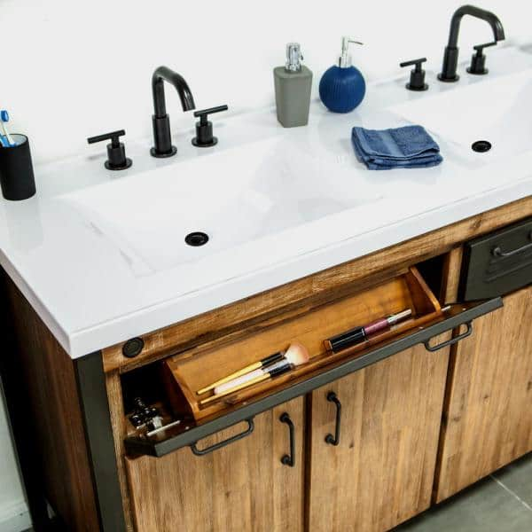 Home Decorators Collection Burnsford 61 In W X 22 In D X 34 In H Vanity In Solid Acacia Wood And Metal With Cultured Marble Top With White Sink Mir Bth01 61 The Home Depot