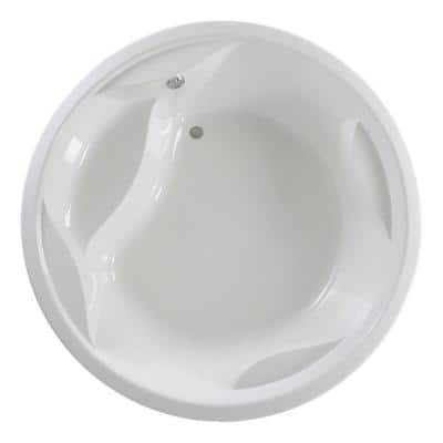 Allegra 6.23 ft. Acrylic Round Drop-In Non-Whirlpool Bathtub in White