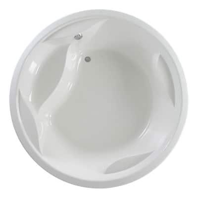 Allegra 6.23 ft. Acrylic Round Drop-In Non-Whirlpool Bathtub in White