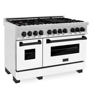 Autograph Edition 48'' 6.0 cu. ft. Dual Fuel Double Oven Range in DuraSnow with White Matte Door and Matte Black Accents