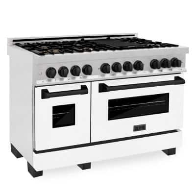 """Autograph Edition 48"""" 6.0 cu. ft. Dual Fuel Double Oven Range in DuraSnow with White Matte Door and Matte Black Accents"""
