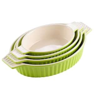 Series Bake Green Ceramic Oval Baking Dish Set of 4 (9.5''/11.25''/12.75''/14.5'') Oven to Table Baking Dish