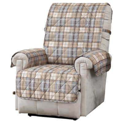 Tartan Plaid Natural Polyester Secure Fits on Recliner Cover 1-Piece