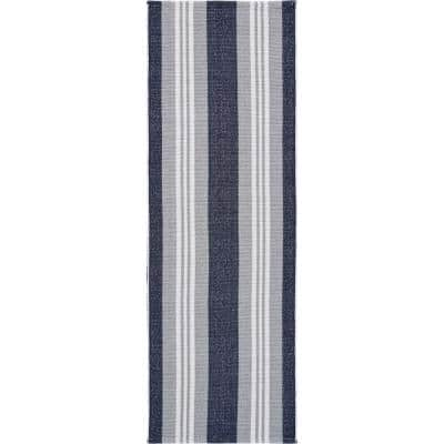 Global Navy Blue/Gray 2 ft. x 6 ft. Coastal Striped Reversible Cotton Runner Rug