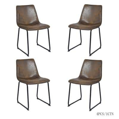 Suede PU  Vintage Antique Brown PU Leather Dining Chairs (Set of 4)