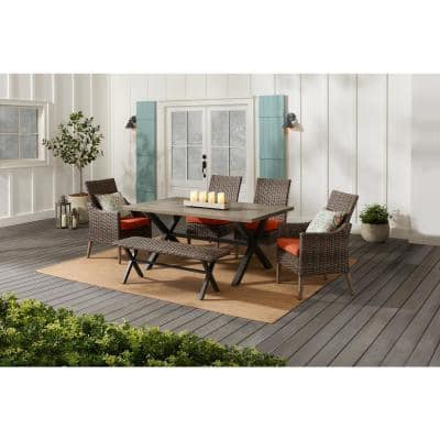 Rock Cliff 6-Piece Brown Wicker Outdoor Patio Dining Set with Bench and CushionGuard Quarry Red Cushions
