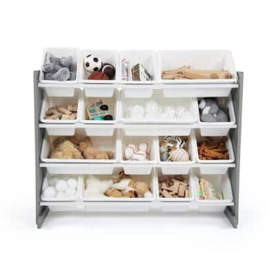 Springfield Grey/White Super-Sized Toy Organizer with 16-Bins